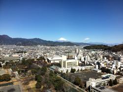 展望台から富士山を見る