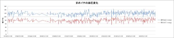 一年間の結果の折れ線グラフ