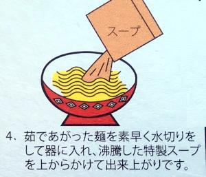 スープを麺にかけるイラスト