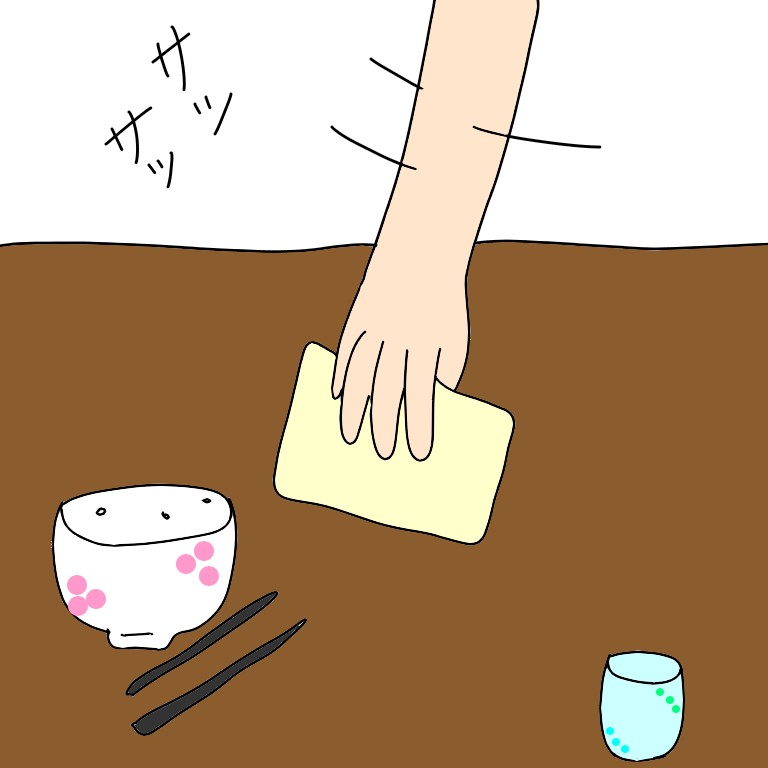 食卓を片付ける