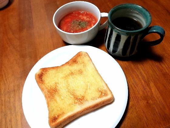 塩オリーブトースト 食パン ミネストローネ コーヒー 朝食