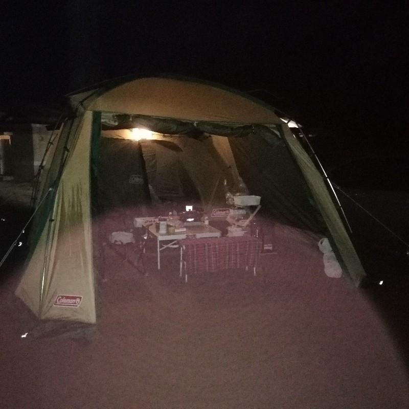 コールマン 2ルームテント キャンプ 夜 写真 画像