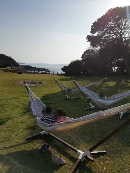 波戸岬キャンプ場 ハンモック 中央広場 海 画像 写真