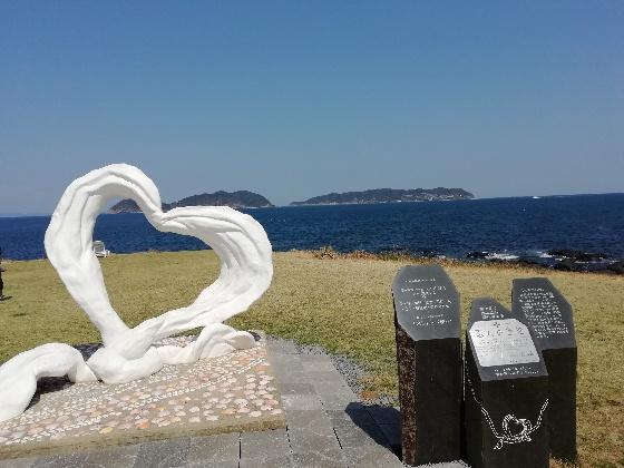 波戸岬 ハート 白 オブジェ 海 写真 画像