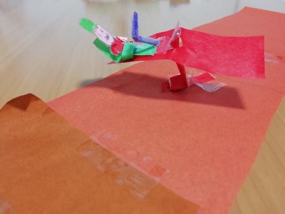 子供 画用紙 折り紙 製作 シーソー 写真 画像