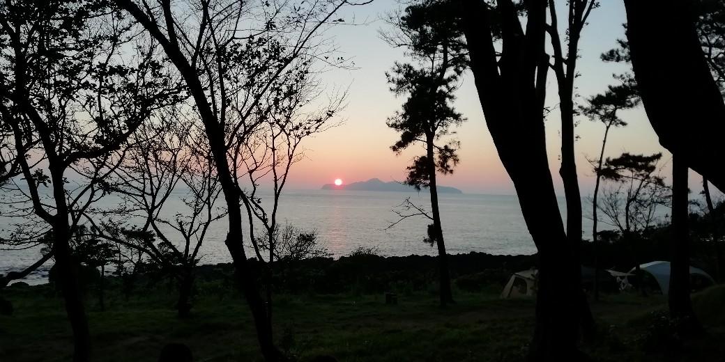 波戸岬キャンプ場 夕日 写真 画像 夏