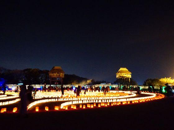 吉野ヶ里歴史公園 2020 画像 写真 光の響 イベント 光の地上絵