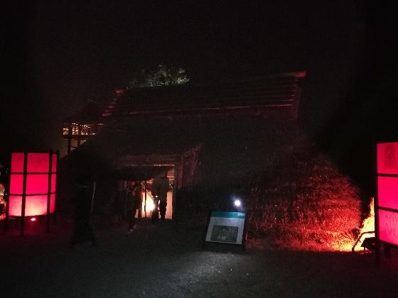 吉野ヶ里歴史公園 2020 画像 写真 光の響 イベント 光の地上絵 家 古代 民家