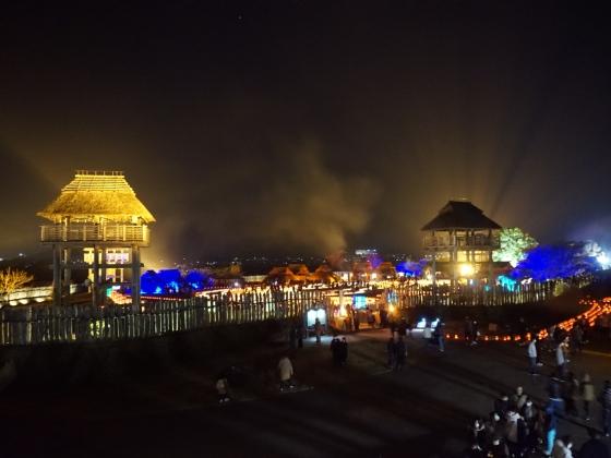 吉野ヶ里歴史公園 2020 画像 写真 光の響 イベント 光の地上絵 古代 弥生時代