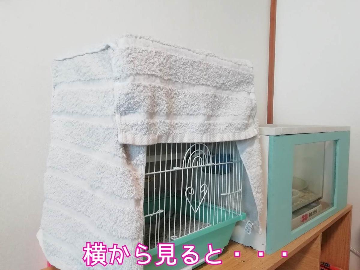 小鳥 文鳥 小動物 カバー 寒さ対策 タオル ケージ 写真 画像 サイド 横 アングル