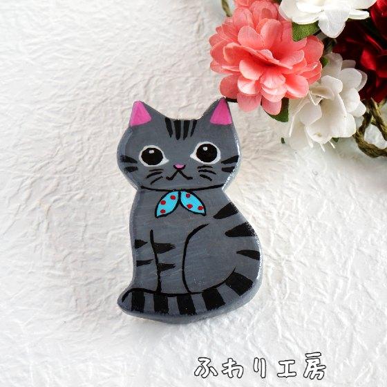 猫 アメリカンショートヘア 写真 画像 かわいい  粘土 ハンドメイド ハンドメイドブローチ 手作りブローチ ブローチ