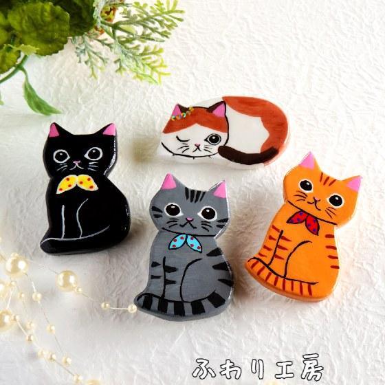 ハンドメイド 猫 写真 かわいい ブローチ 手作り アメリカンショートヘア ハチワレ 黒猫 茶トラ 猫