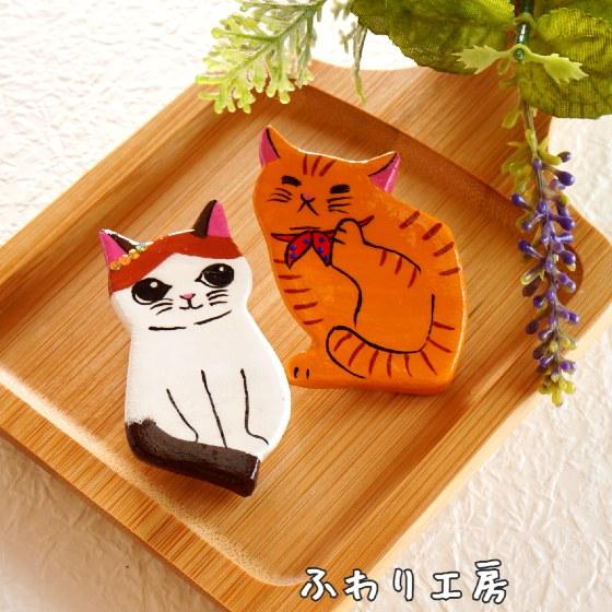 猫 ブローチ 粘土 アクセサリー かわいい