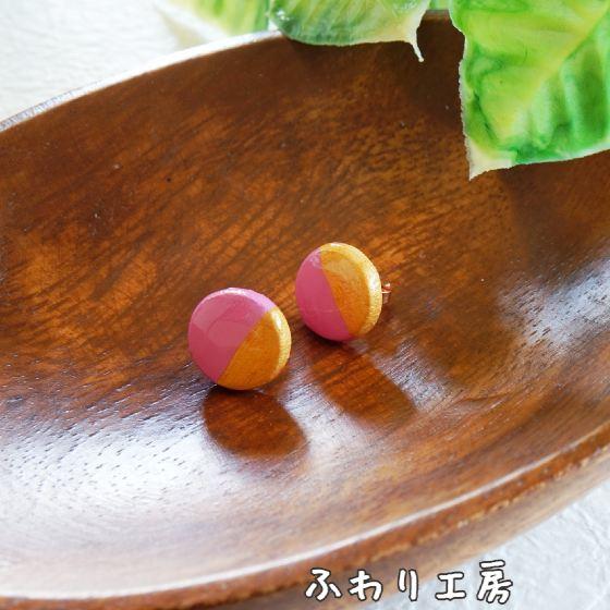 ハンドメイドアクセサリー 粘土アクセサリー ピンク ゴールド ツートーン 粘土 手作りピアス 写真 画像