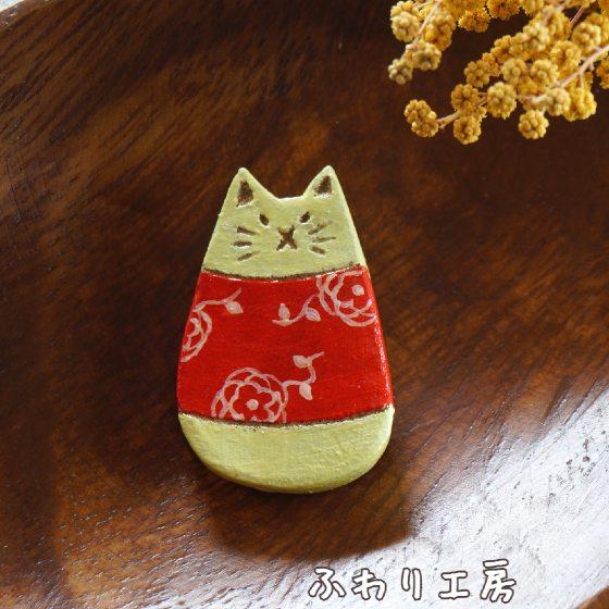 猫 オーブン陶土 写真 画像 ハンドメイド ブローチ 陶土ブローチ