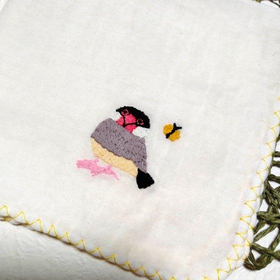 文鳥 刺繍 ガーゼ ハンドメイド 写真 画像