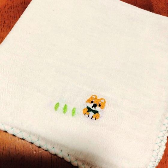 刺繍 ハンドメイド ガーゼハンカチ 柴犬 写真 画像