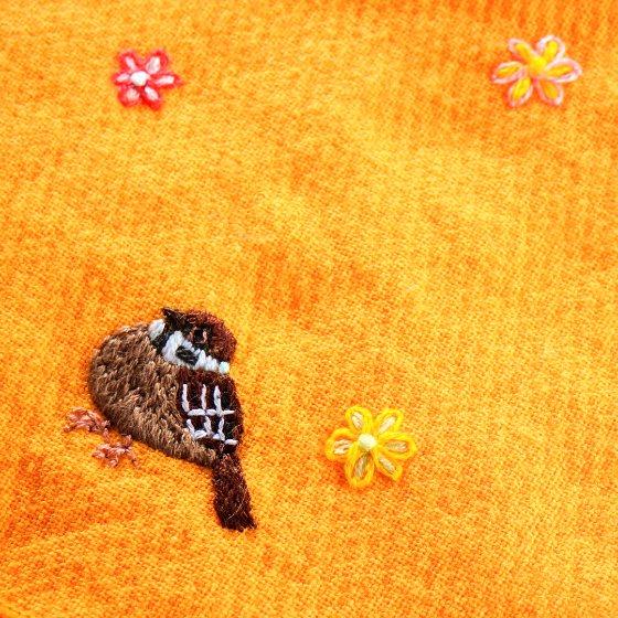 すずめ スズメ ハンカチ ハンドメイド 刺繍 写真 画像