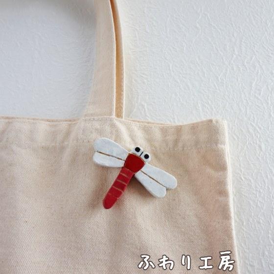 とんぼ トンボ 写真 画像 赤トンボ 赤とんぼ ハンドメイド オーブン陶土 陶土ブローチ 陶土