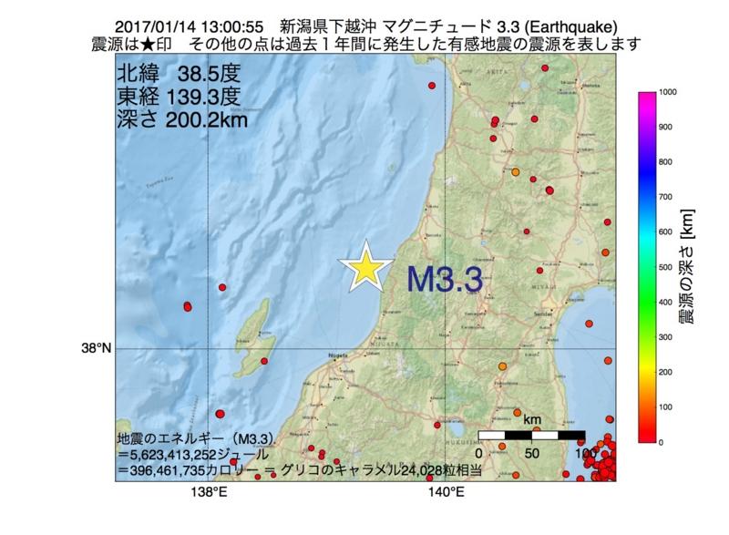 地震震源マップ:2017年01月14日 13時00分 新潟県下越沖 M3.3
