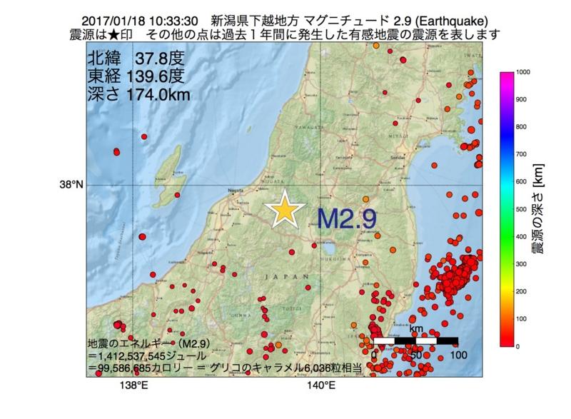 地震震源マップ:2017年01月18日 10時33分 新潟県下越地方 M2.9