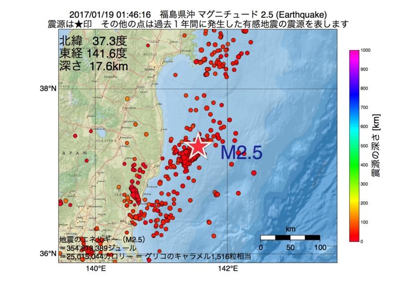 地震震源マップ:2017年01月19日 01時46分 福島県沖 M2.5