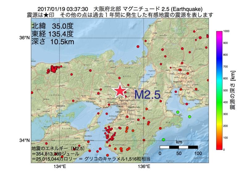 地震震源マップ:2017年01月19日 03時37分 大阪府北部 M2.5