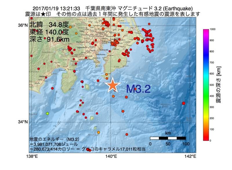 地震震源マップ:2017年01月19日 13時21分 千葉県南東沖 M3.2