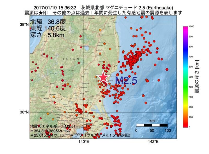 地震震源マップ:2017年01月19日 15時36分 茨城県北部 M2.5
