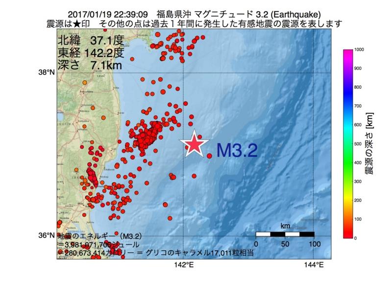 地震震源マップ:2017年01月19日 22時39分 福島県沖 M3.2