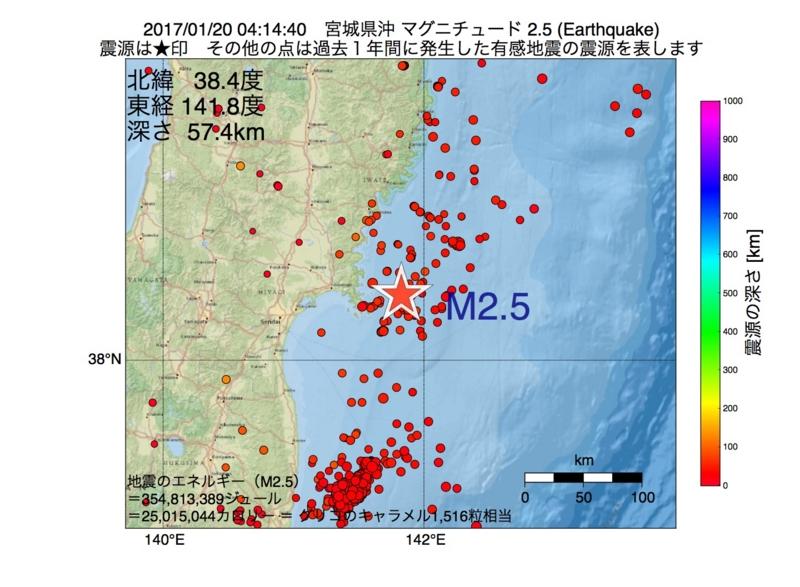 地震震源マップ:2017年01月20日 04時14分 宮城県沖 M2.5