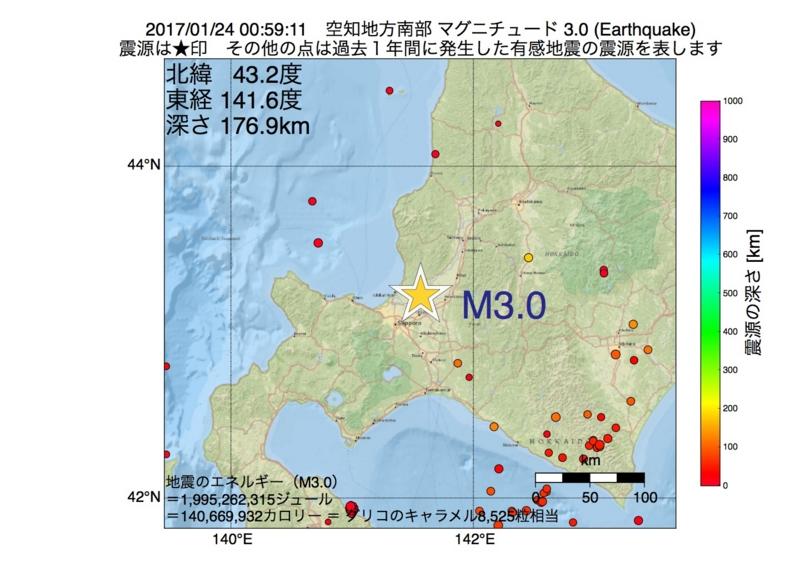 地震震源マップ:2017年01月24日 00時59分 空知地方南部 M3.0