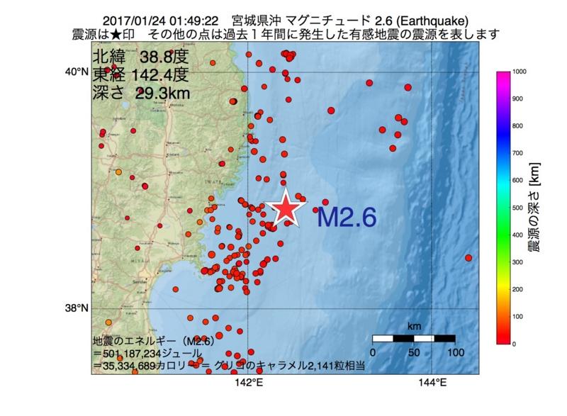 地震震源マップ:2017年01月24日 01時49分 宮城県沖 M2.6