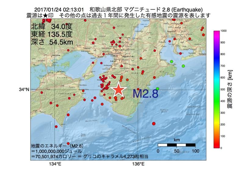 地震震源マップ:2017年01月24日 02時13分 和歌山県北部 M2.8