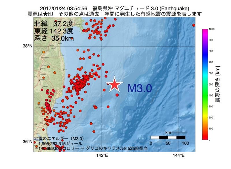 地震震源マップ:2017年01月24日 03時54分 福島県沖 M3.0