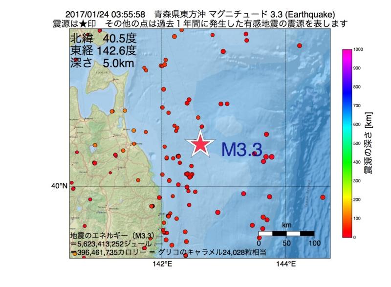 地震震源マップ:2017年01月24日 03時55分 青森県東方沖 M3.3