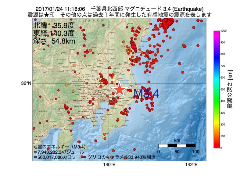 地震震源マップ:2017年01月24日 11時18分 千葉県北西部 M3.4
