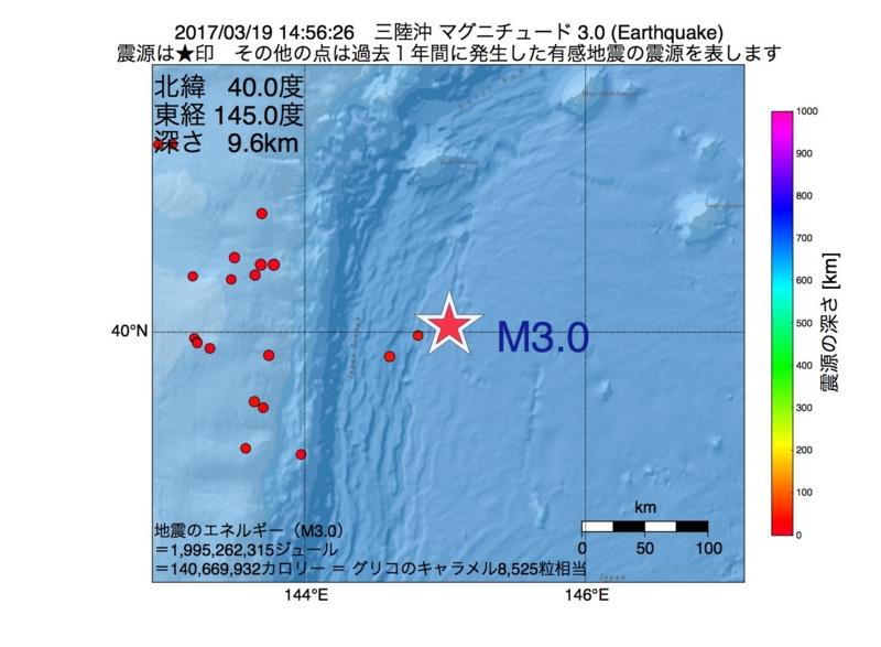 地震震源マップ:2017年03月19日 14時56分 三陸沖 M3.0