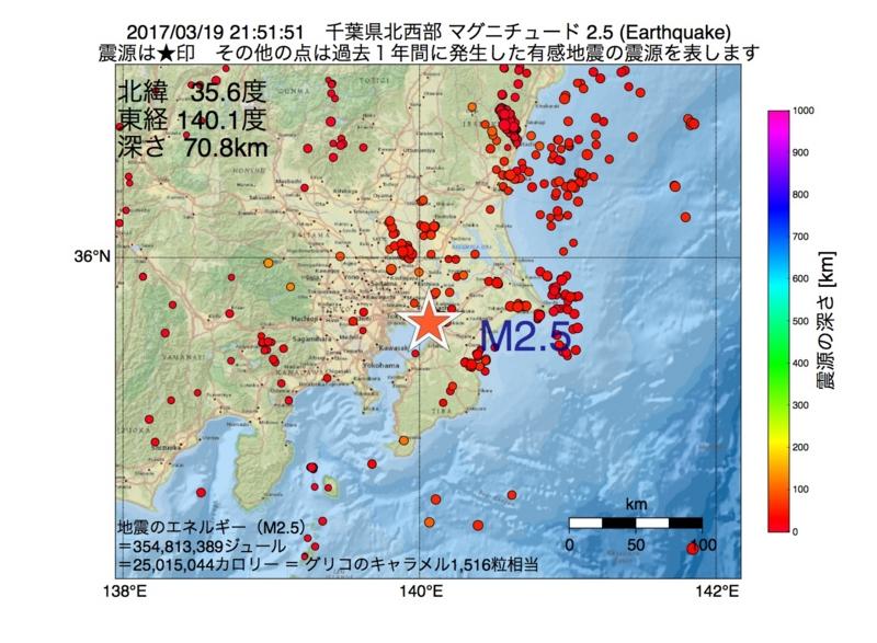 地震震源マップ:2017年03月19日 21時51分 千葉県北西部 M2.5