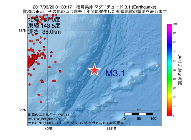地震震源マップ:2017年03月20日 01時33分 福島県沖 M3.1