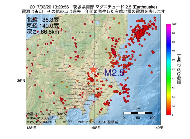 地震震源マップ:2017年03月20日 13時20分 茨城県南部 M2.5