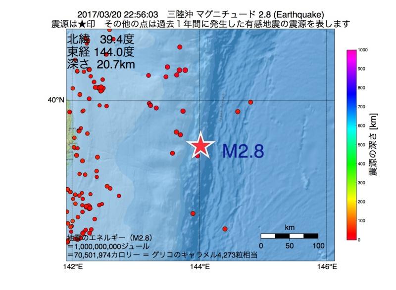 地震震源マップ:2017年03月20日 22時56分 三陸沖 M2.8