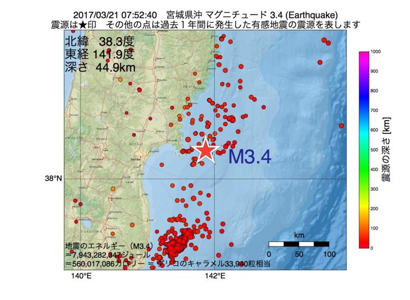 地震震源マップ:2017年03月21日 07時52分 宮城県沖 M3.4