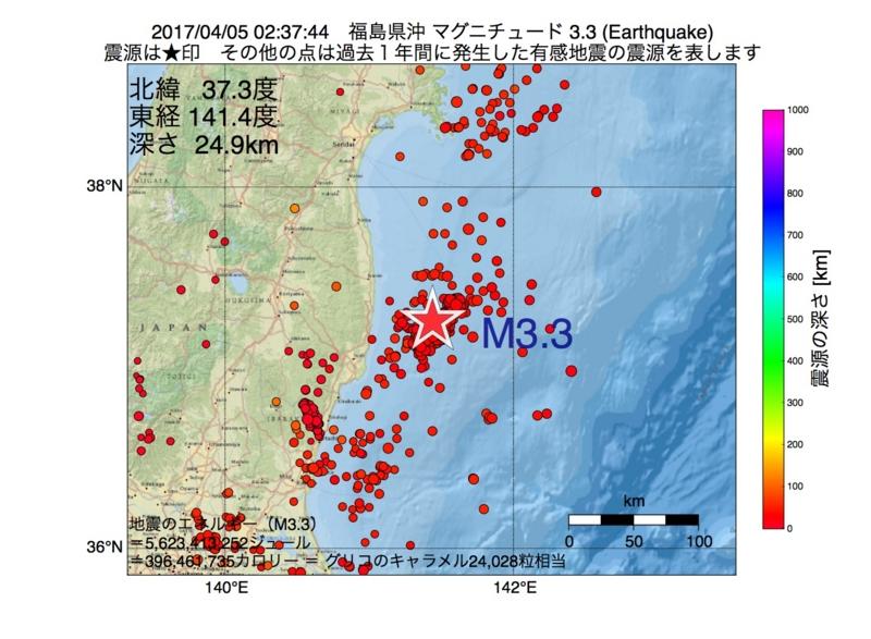 地震震源マップ:2017年04月05日 02時37分 福島県沖 M3.3