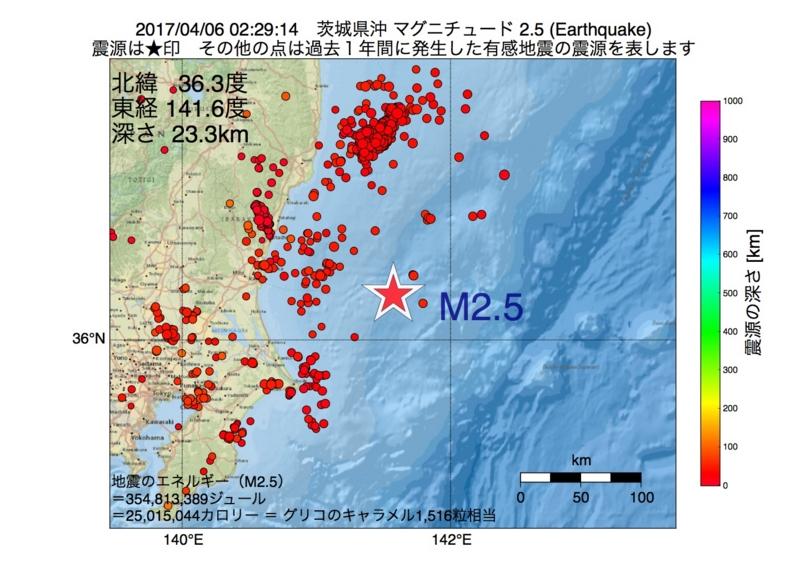 地震震源マップ:2017年04月06日 02時29分 茨城県沖 M2.5