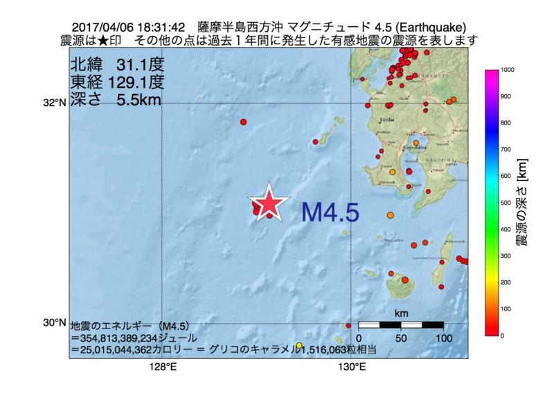 地震震源マップ:2017年04月06日 18時31分 薩摩半島西方沖 M4.5