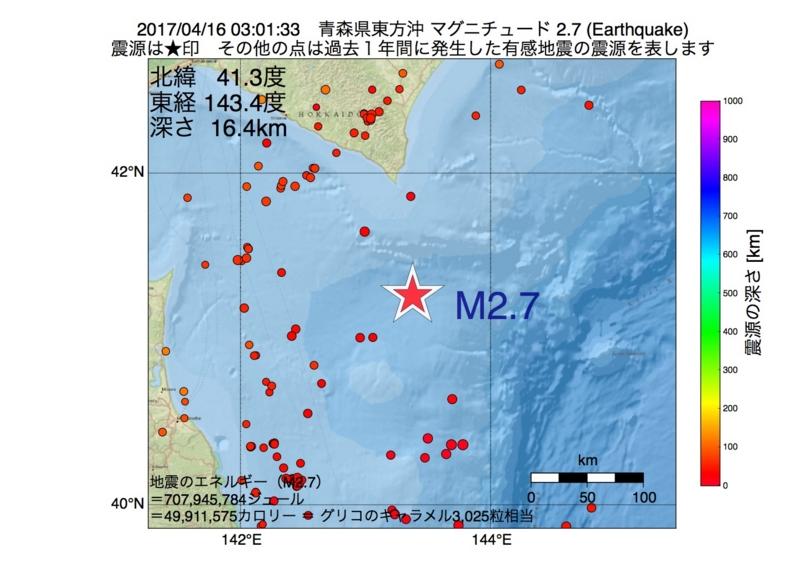 地震震源マップ:2017年04月16日 03時01分 青森県東方沖 M2.7