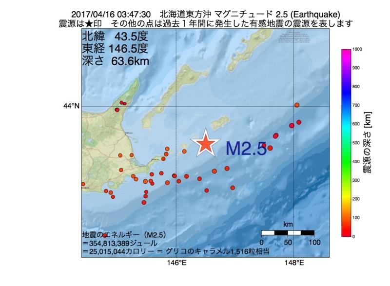 地震震源マップ:2017年04月16日 03時47分 北海道東方沖 M2.5
