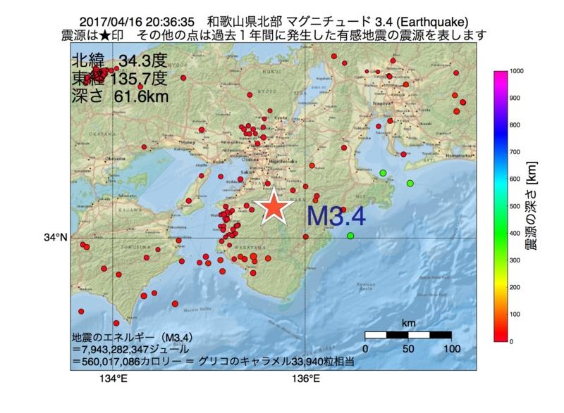 地震震源マップ:2017年04月16日 20時36分 和歌山県北部 M3.4