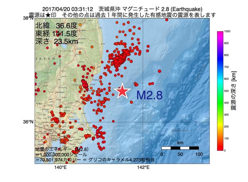 地震震源マップ:2017年04月20日 03時31分 茨城県沖 M2.8